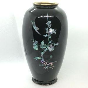 Vtg Black Lacquer MOP Inlay Vase Birds & Blooms